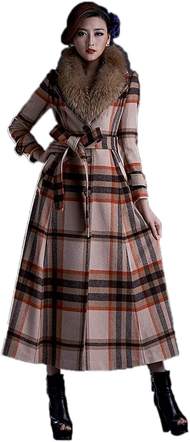 Fashion Plaid Cashmere Long Wool Coat with Fur Collar Trench Coat
