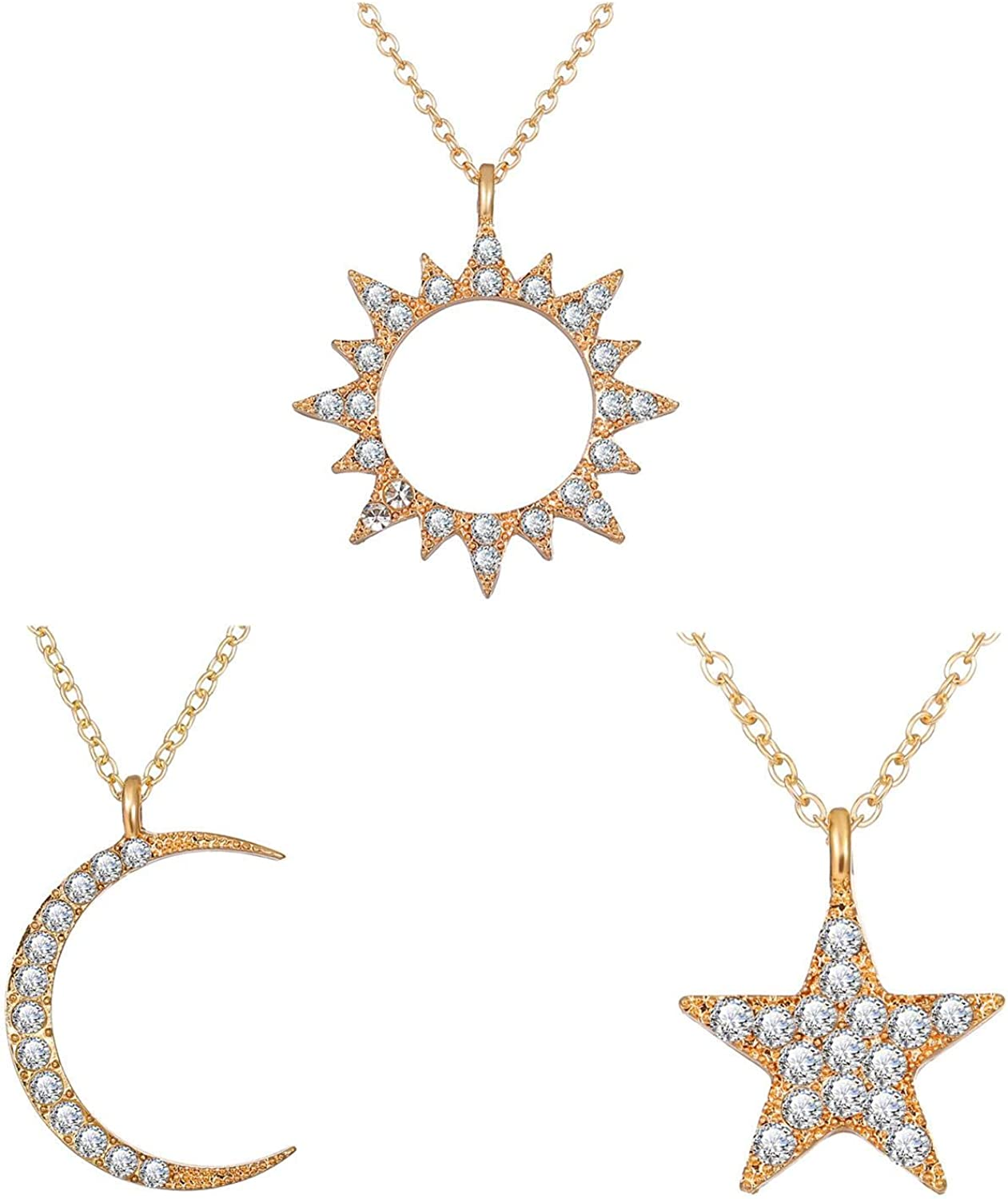 Crystal Sun Moon Star Pendant Necklaces Gold Color Bling Sun Moon Chain Necklace for Women Girl Wedding Accessories Jewelry