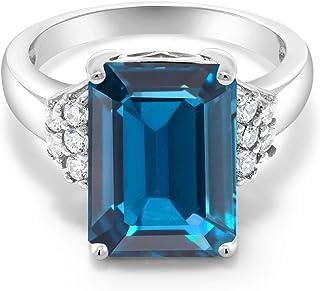Gem Stone King 925 Sterling Silver London Blue Topaz Women's Engagement Ring 8.80 Ct Emerald Cut 14X10MM Gemstone Birthsto...