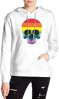 VJJ AIDEAR Gay Pride Rainbow Skull Women's Sweater Printed Hoodied Long Sleeve Coat