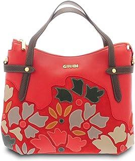 GIUDI ® - Borsa a mano donna in pelle vitello, applicazione petali, borsa a mano, vera pelle,Made in Italy. (Rosso chiaro)