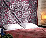 RAJRANG BRINGING RAJASTHAN TO YOU Tapices de Mandala Pared - Bohemio Hippie Wall Tapestry Tapiz Playa Sala de Estar Decoración del Hogar - Rojo - 213 x 137 cm
