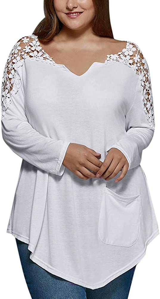 VEMOW Tops Mujer Tallas Grandes Moda para Mujer Camiseta de Manga Corta Chaleco con Cuello en v Remache Blusa