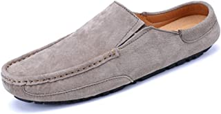 TONGDAUAE Men's Driving Penny Loafers Genuine Leather Casual Slippers Slip-On Boat Mules formal shoes (Color : Khaki, Size : 40 EU)