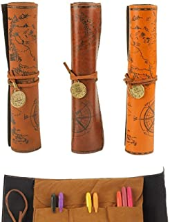 Leather Pen Roll - Vintage Pencil Case, Bag,Pouch for Students & Artists,Pack of 3 by Ciaoed