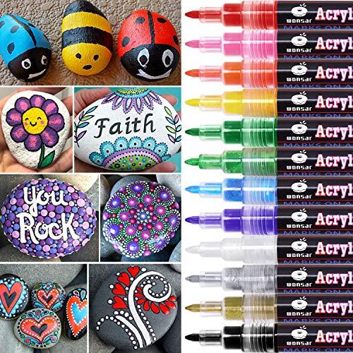 WONSAR Acrylstifte Marker Stifte, 12 Farben Wasserfest Acrylstifte für Steine Bemalen, Acrylfarben Stifte für Kinder DIY Keramik Glas Porzellan Metall Kunststoff Holz Leinwand (0.7mm Spitze)