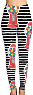 cleaer Gumball Machine Red On Black Stripes High Waist Yoga Pants Tummy Control Workout Pants for