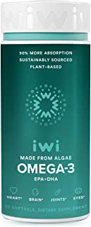 iwi Omega-3 EPA+DHA,Clinically Proven 50% Better Absorption Than Fish or Krill Oil, 100% Vegan, Non GMO, Gluten Free, Supports Healthier Heart, Brain, Joints & Eyes-30 Day Supply (Packaging May Vary)