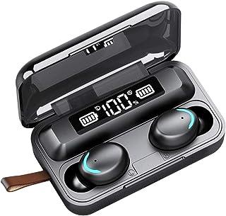 SEEDARY Audífonos inalámbricos Bluetooth 5.0 Auriculares Impermeables Deportivos Sonido Estéreo HiFi Reducción de Ruido, Micrófonos Incorporados, con Estuche de Carga 3300mAh Control táctil, Reproducción de 6 Horas para iPhone y Android de Color Negro Buen Regalo