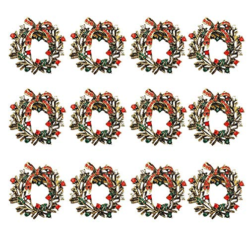 Concey 1/6/12 PCS Anillos de servilletas navideñas- Hebilla de servilleta de Flores de aleación, Anillos de servilletas de Diamantes de imitación Brillantes para la Fiesta navideña Cena Decoración