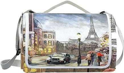 Jeansame Picknick-Matte Picknick-Matte Picknick-Matte mit Eiffelturm, Blaumen, Vintage-Design, für Outdoor-Aktivitäten, Wandern, Yoga, wasserdicht, tragbar, faltbar, 150 x 145 cm B07MHGH44J   Um Zuerst Unter ähnlichen Produkten Rang  c5cf41