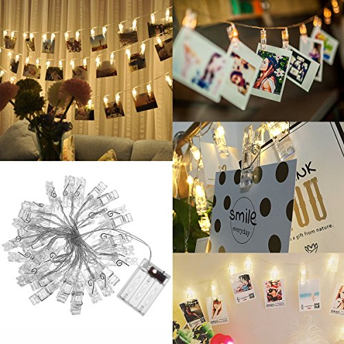 LEDMOMO 40 LED Photo Clip Chaîne Lights 5M Fonctionnant sur batterie LED Lumières photo pour la décoration Suspendre Photo, Notes, Artwork