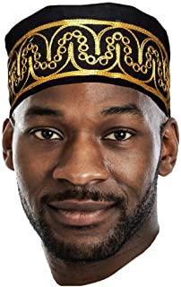 Dupsie`s African Black Kufi Hat with Gold Embroidery
