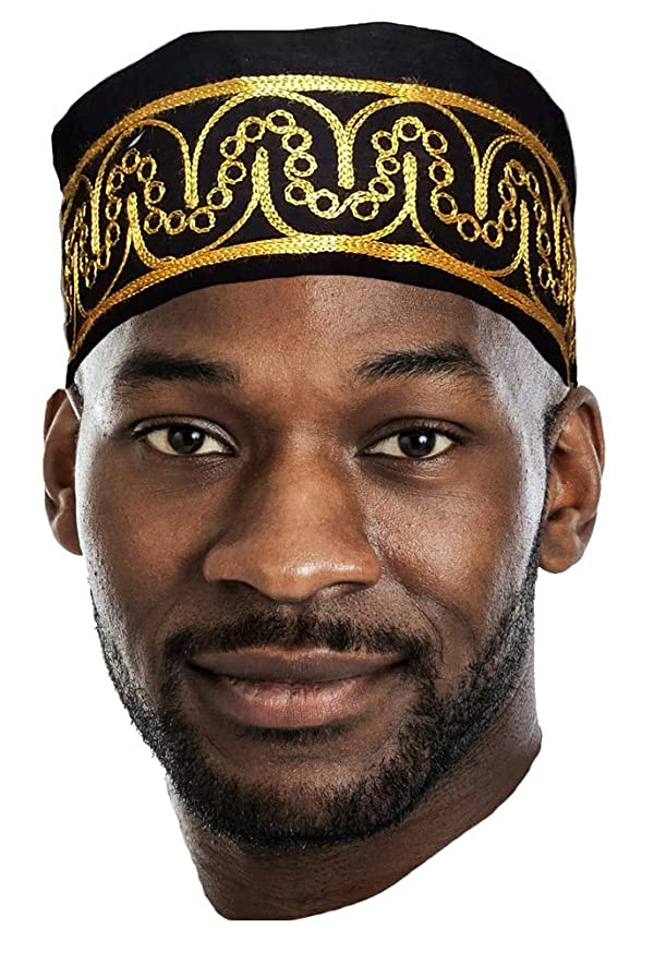 Dupsie's African Black Kufi Hat with Gold Embroidery