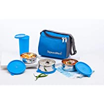 Signoraware Best Stainless Steel Lunch Box Set of 4 (350 ml, 350 ml, 200 ml, Blue)