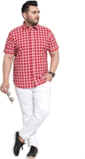 pluss Cotton Half Sleeves Shirt for Men and Boys (Red)