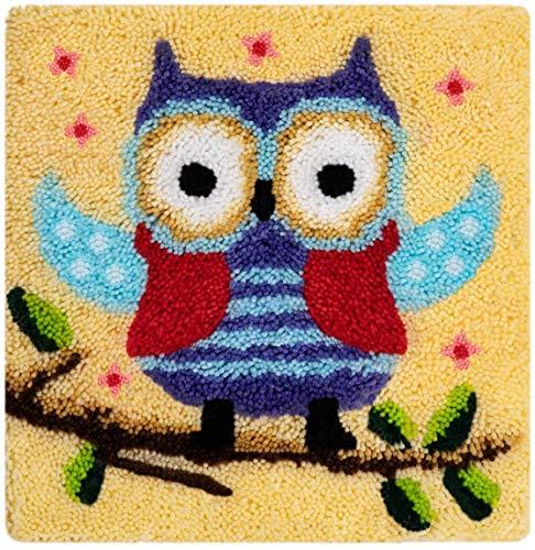 Myriad Choices Eule Knüpfteppich Kreuzstich Stickerei DIY Set 45x45cm Selber Machen Set Latch Hook Kit für Kinder und Erwachsene zum Selber Knüpfen
