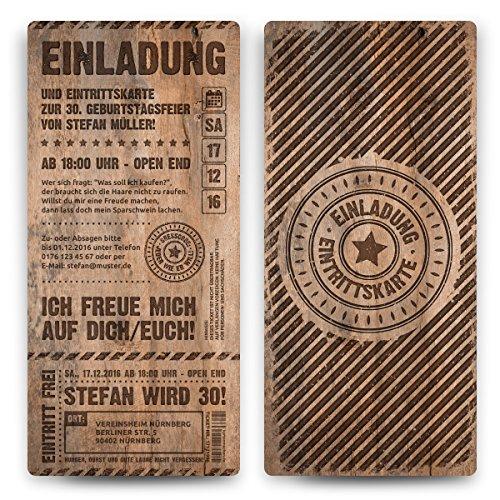 30 x Geburtstag Einladungskarten Eintrittskarten Geburtstagseinladungen Ticket Einladung - Grunge/Holz