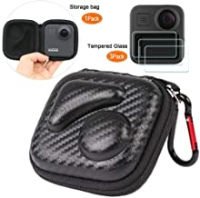 PCTC Mini Carry Case Portable Protective Carrying Pocket Box Travel Bag for GoPro Max Action Camera + 3X Tempered Glass Screen Protector, fit with Boxes Accessory for Go pro Max
