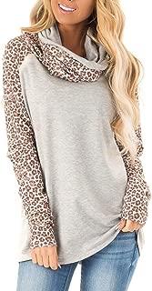 Women Casual Cowl Neck Sweatshirts Leopard Print Tops Long Sleeve Raglan Shirt Jumpers for Women