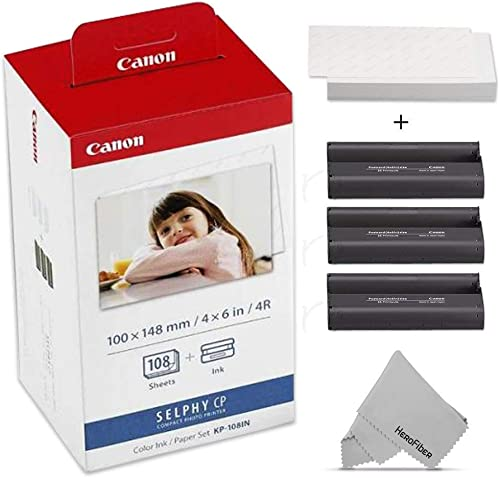 Canon KP-108IN Color Ink Paper Includes 108 Ink Paper Sheets + Ink Toners for Canon Selphy CP1200, Selphy CP910, Selp...