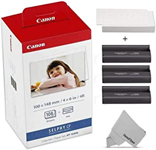 $36 » Canon KP-108IN / KP108 Color Ink Paper Includes 108 Ink Paper Sheets + Ink Toners for Canon Selphy CP1300, Selphy CP1200, ...