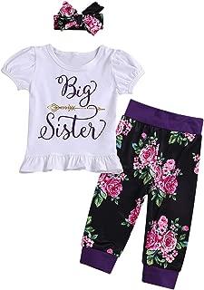 Newborn Girl Clothes Little Sister/Big Sister Shirt Outfits Romper Bodysuit Set 3/4pcs