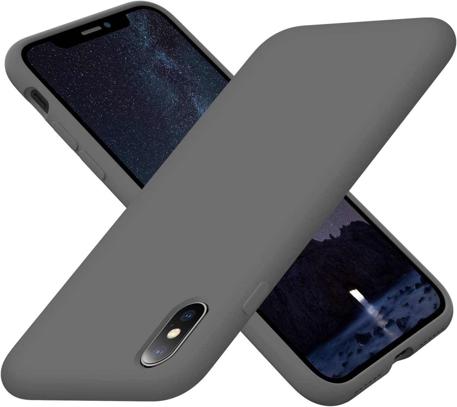 Cordking Silicone iPhone Xs Max Case, Ultra Slim Shockproof Protective Phone Case with [Soft Anti-Scratch Microfiber Lining], 6.5 inch, Space Gray