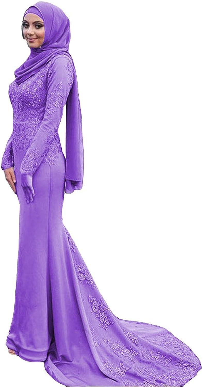 Ai Maria Women's Muslim Scoop Neck Long Sleeves s Satin Mermaid Evening Dresses