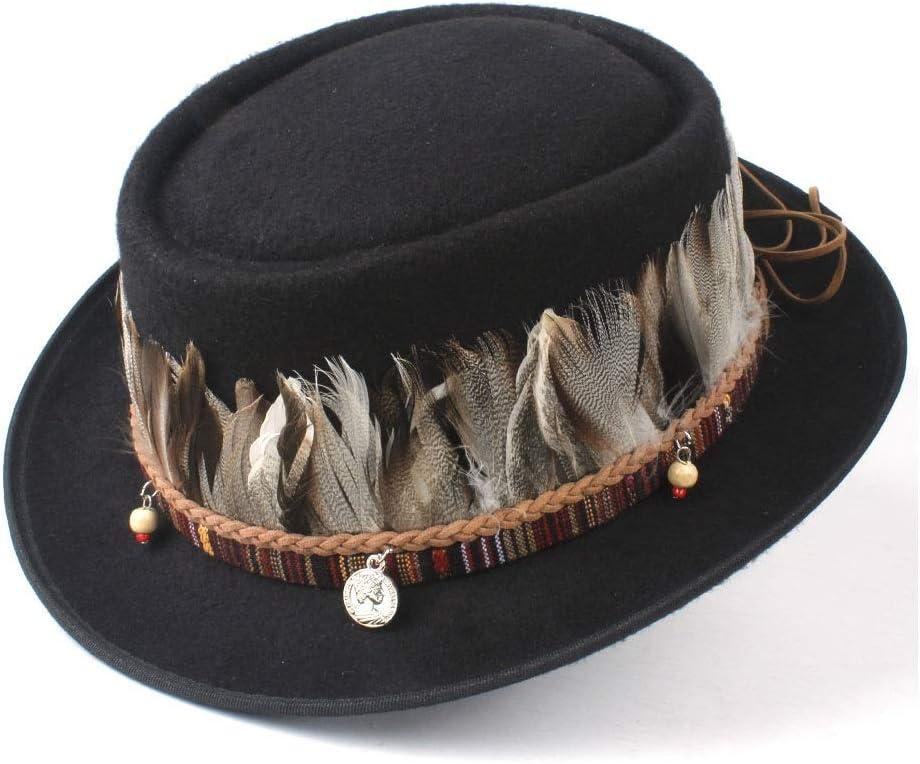liyuzhu Men Women Fashion Feather Pork Pie Hat Fedora Jazz Hat Flat Tassel Trilby Hat Boater Casual Wild Hat Size 58CM (Color : Black, Size : 58)