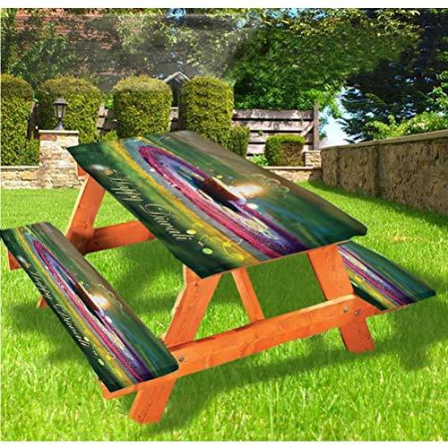 LEWIS FRANKLIN Cortina de ducha Diwali Mesa de picnic y Banco Funda de mantel ajustable, con borde elástico, 28 x 172 pulgadas, juego de 3 piezas para camping, comedor, exterior, parque, patio