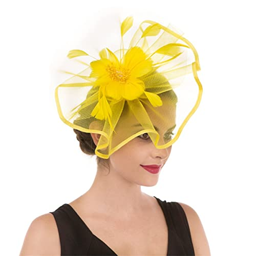 783d0aa24f6d2 Fascinator Hat Feather Mesh Net Veil Party Hat Ascot Hats Flower Derby Hat  with Clip and