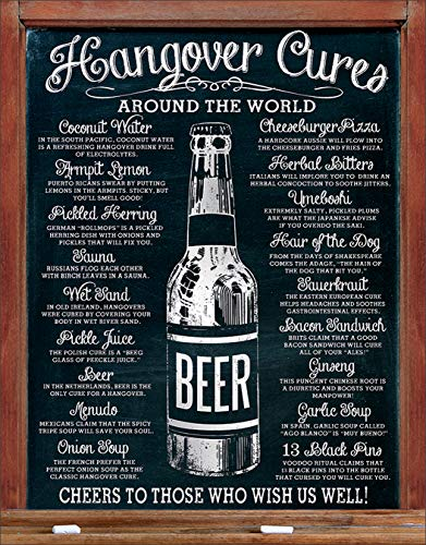 "Desperate Enterprises Hangover Cures Tin Sign, 12.5"" W x 16"" H"