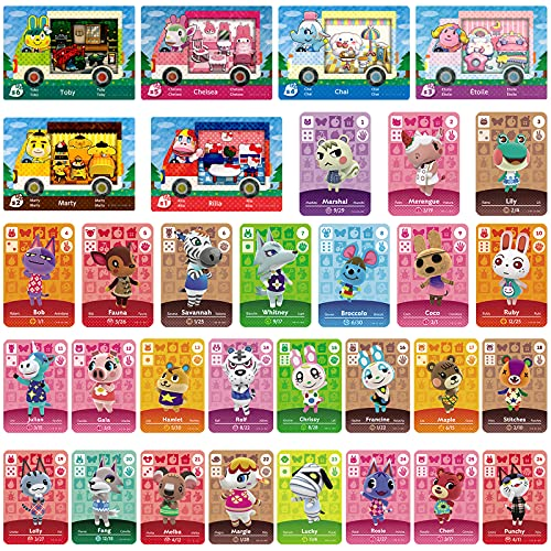 32 Pcs NFC Mini Cards Pack for Sanrio Animal Crossing New Horizons Series 1-4 for Switch/Switch Lite/Wii U