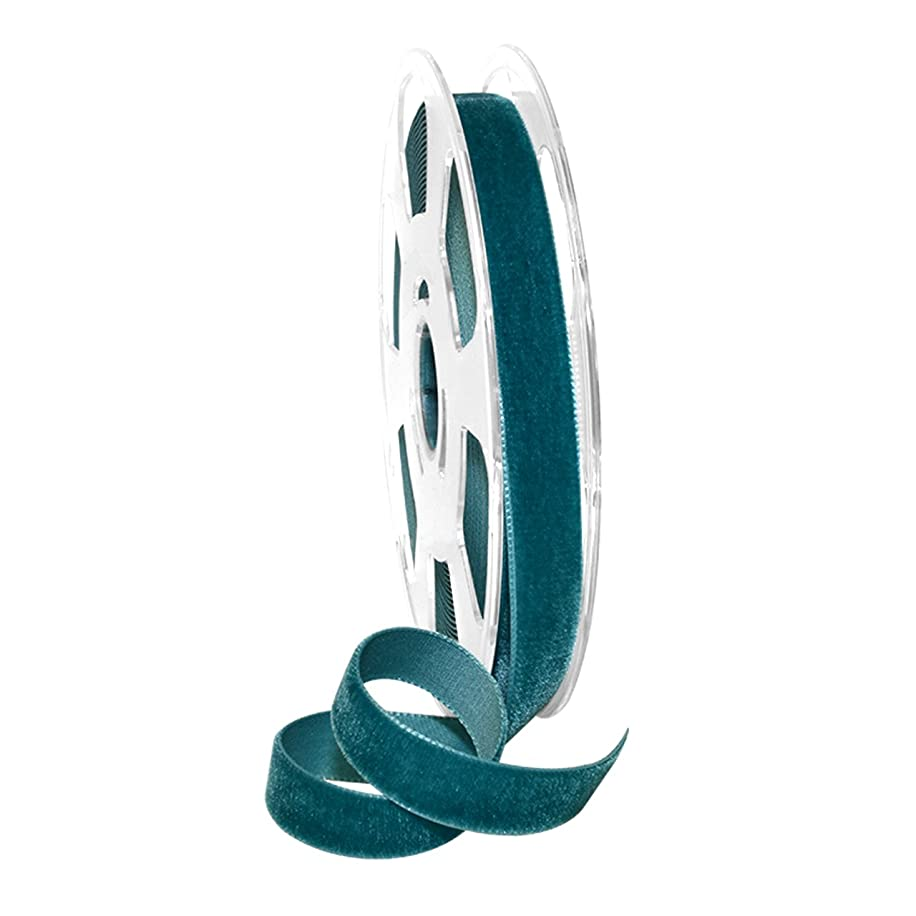 Morex Ribbon Ribbon, Nylon, 5/8 inch by 11 Yards, Teal, Item 01215/10-654 Nylvalour Velvet, 5/8