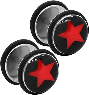 2 Plugs Falso Fakeplug Aretes Pendientes Piercing 10 mm sin dilatación Estrella