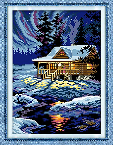 """Stamped Cross Stitch Kits Cross-Stitching Accurate Pre-Printed Pattern - The Night of The Arctic 11CT 10.6""""X 15"""", Frameless (Pattern Printed On Fabric)"""