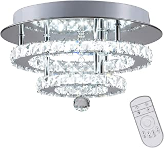 KAI Crystal Dimmable Temperature Adjustable Ceiling Light Flush Mount Modern Contemporary Luxury LED Chandelier Lamp with 30W 120LM/W 120LEDs Lighting for Dining Room Bedroom Foyer(Chrome Round,1Pack)