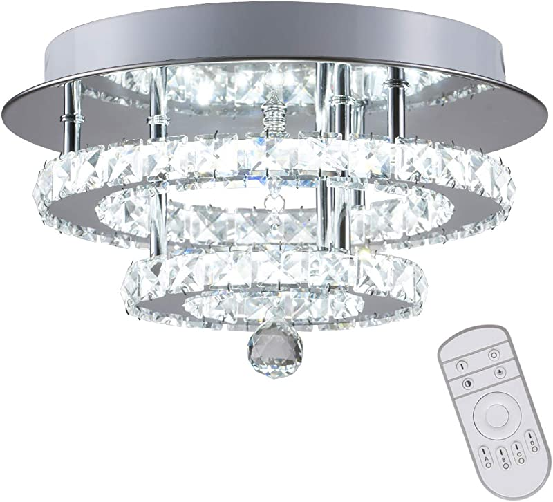 KAI Crystal Dimmable Temperature Adjustable Ceiling Light Flush Mount Modern Contemporary Luxury LED Chandelier Lamp With 30W 120LM W 120LEDs Lighting For Dining Room Bedroom Foyer Chrome Round 1Pack