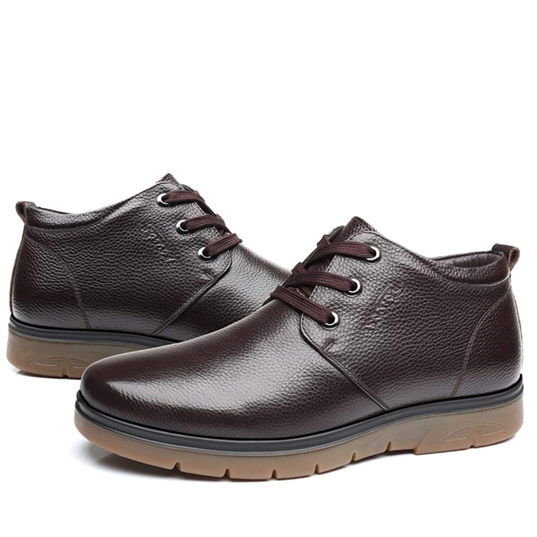 メンズシューズ 靴 男性 作業 アンクルブーツ カジュアル ビジネス シンプル フリースインサイド ラウンドトゥ ハイトップ ブーツ シューズ 通気性 (Color : 褐色, サイズ : 24.5 CM)
