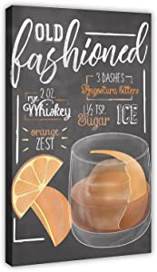 Cocktail Signs Old Fashioned Cocktail Bar Poster Bar Poster Restaurant Posters Canvas Poster Bedroom Decor Sports Landscape Office Room Decor Gift 16×24inch(40×60cm) Frame-style1
