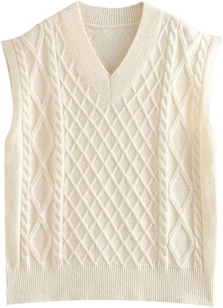 Women Fashion Oversized Cable-Knit Vest Sweater Vintage V Neck Sleeveless Female Waistcoat Chic Tops