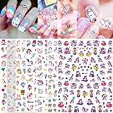 3D Cartoon Unicorn Nail Stickers for Kids, Pony Unicorn Self-Adhesive Nail Art Stickers Tattoo Manicure Decoration Unicorn Gift Birthday Party Nail Decals for Acrylic Nails Art (7 Sheets)