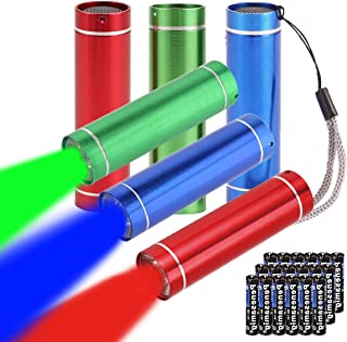 TopMe 3 Colors( Red, Blue, Green) Small Mini LED Flashlight,Pack of 6,Bateries included
