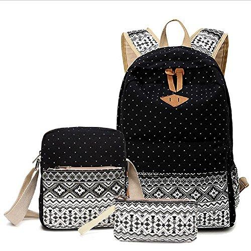 Mochila escolar, mochila 3 en 1 de lona para ocio, mochila + bolso + bandolera para adolescente, estudiante e ideal para la escuela, ocio, viajes, senderismo, etc. (Negro)