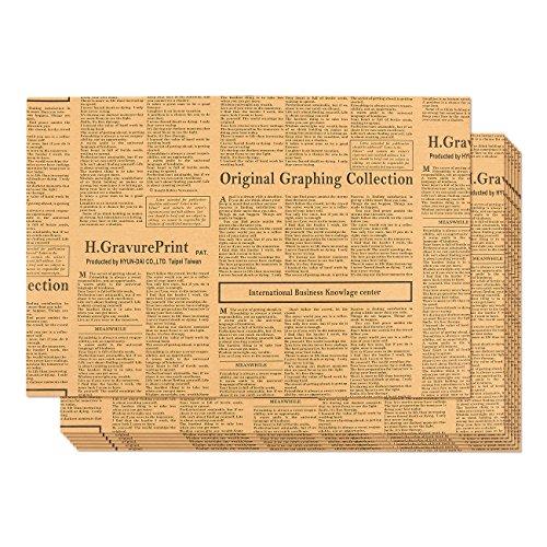 Rollo de papel Kraft- Paquete de 12 rollos de papel para envolver, rollos de papel kraft marrón con diseño de periódico, papel de regalo marrón, 70,5 cm x 50,2 cm