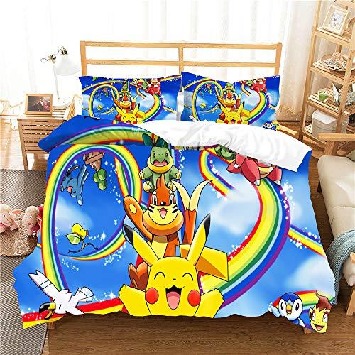 Meiju Duvet Cover Set, 3D Bedding Set Soft 3 Pieces with Microfiber Pillowcases & Zipper Closure Quilt Case Printed Effect for Boy Girl Single Double King Size Bed (rainbow,200x200cm)