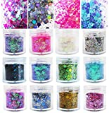 12 Bottles Chunky Resin Glitter Flakes Iridescent White Pink Purple Holographic Gold Silver Sparkle Glitter Sequins Crafts Paints Nail Art Accessories (MixStyle)