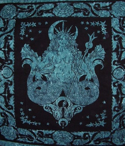Goddess Of The Sea Celtic Tapestry Cotton Bedspread 90' x 84' Full Blue