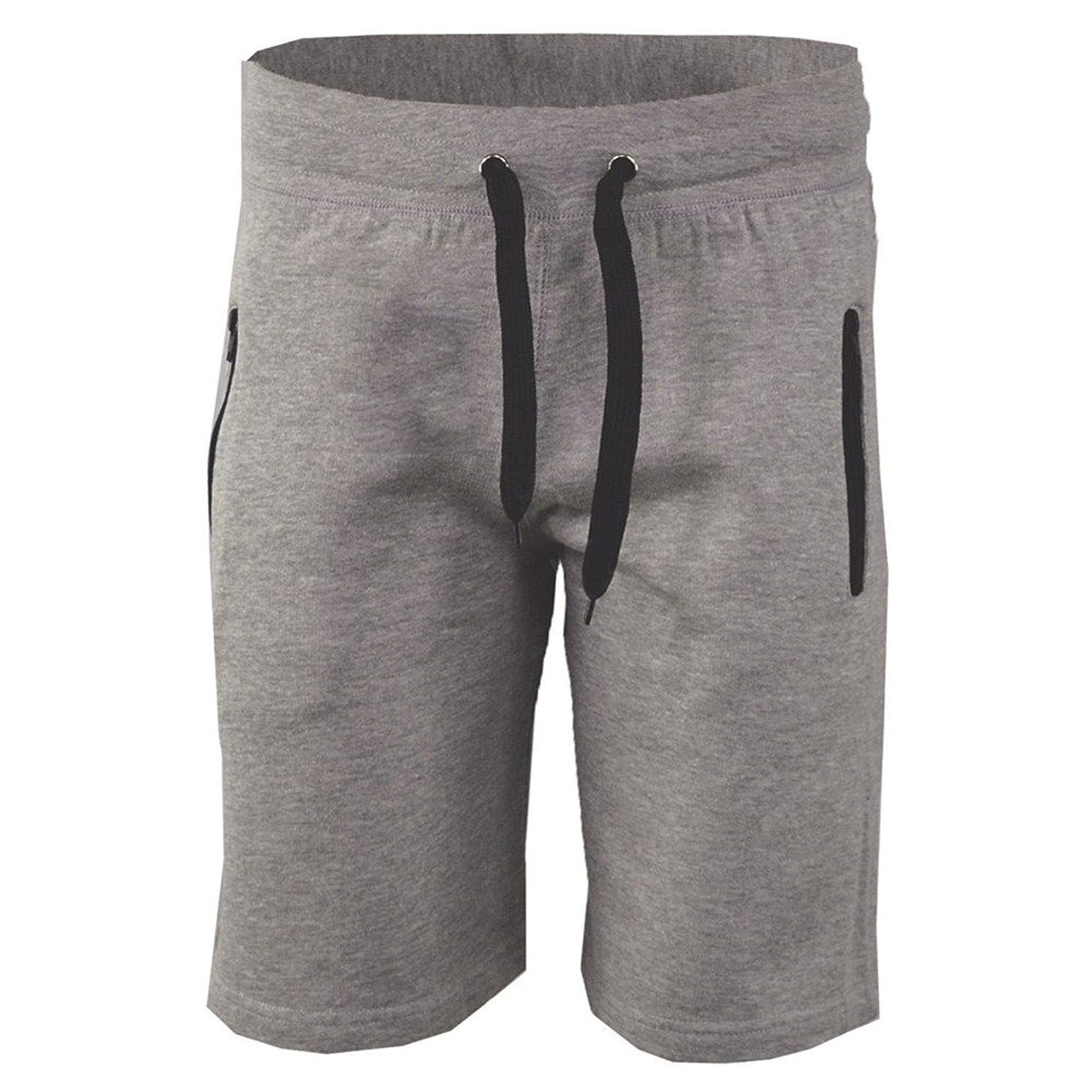 JJLIEKR Men's Elastic Waist Drawstring Shorts Comfortable Breathable Cotton Casual Sport Half Pants with Zip Pocket